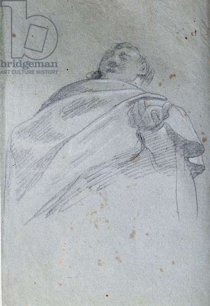 Bust of man drape Drawing in ink and wash by Carlo Bononi (1569-1632) 17th century Paris. Louvre Museum