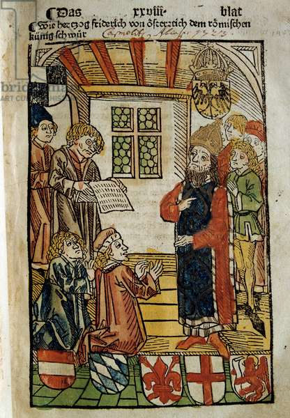 Representation of the Council of Constance (1414-1418), convened by Emperor Sigismund I and Antipope John XXIII. He put an end to the Great Schism of the West. Miniature of 1414. Paris. Polish Library