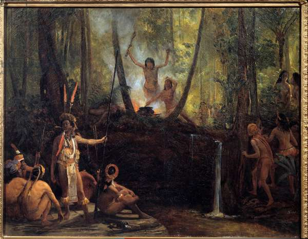 The manufacture of curare in the bresilian forest Extraction of curare, a substance taken from the vines of Amazon trees causing paralysis. Painting by Francois Auguste Biard (1799-1882) 19th century La Rochelle, Musee du Nouveau Monde