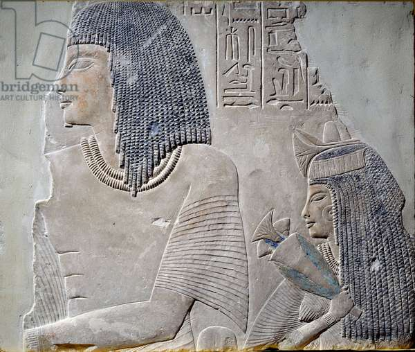 Art Egypt: Ieneminet and his wife Takha. Fresco of the New Empire period of the 18th dynasty (14th century BC). Paris, Musee Du Louvre