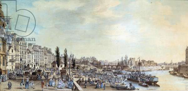View of Saint Paul's port and the office of water boats in 1782 Pastel painting by Louis de Lespinasse (1734-1808) 1782 Paris, Musee Carnavalet