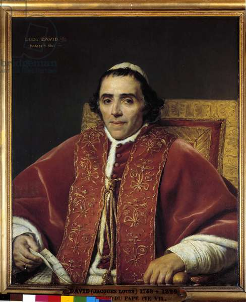 Half-body portrait of Pope Pius VII (Gregoire Chiaramonti), Pope in 1800 (1742-1823) Painting by Jacques Louis David (1748-1825) 19th century Sun. 0,91x0,85 m.  - Half-body portrait of Pope Pius VII (Gregoire Chiaramonti), pope in 1800 (1742-1823). Painting by Jacques-Louis David (1748-1825), 19th century. 0.91 x 0.85 m.