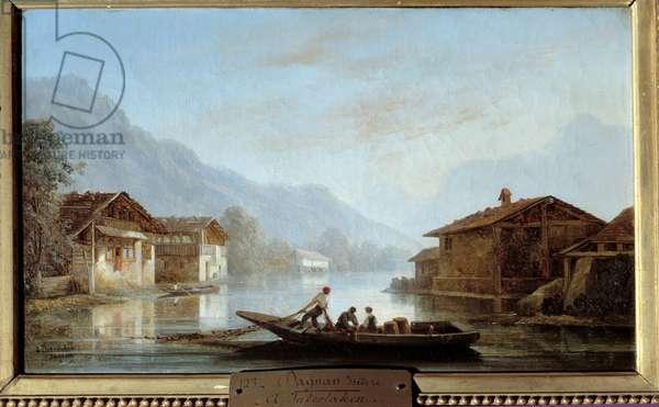 Pecheurs Suisse à Interlaken. Painting by Isidore Dagnan (1794 - 1873), 19th century. oil on canvas. Meaux, Bossuet Museum