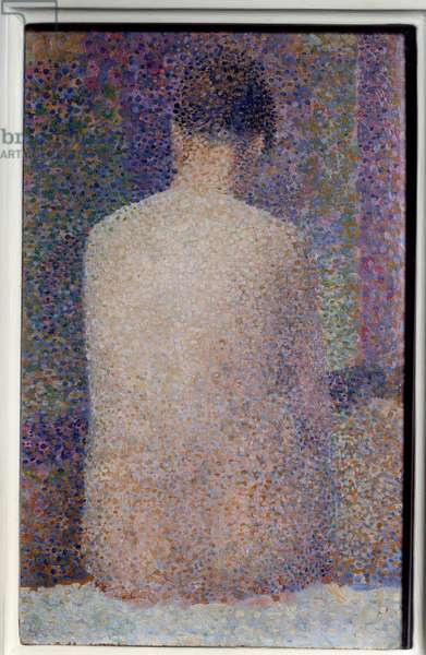 Back Laying Painting by Georges Seurat (1859-1891) 1887 Sun. 0,24x1,55 m Paris, musee d'Orsay - Model, Back View. Painting by Georges Seurat (1859-1891) 1887. 0.24 x 1.55 m. Orsay Museum, Paris