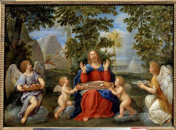 Christ served by angels - Painting by Francesco Albani dit l'Albane (1578-1660), 17th century - oil on copper - Sun: 0,39 x 0,54m - Grenoble, Musee Des Beaux Arts