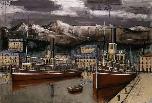 Annecy, the pier of the boats promenade The marina, , 1972 (oil on canvas)
