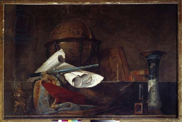 Allegory of science Still life, globe, geographic maps, books and vase. Painting by Jean Baptiste Simeon Chardin (1699-1779) 18th century Paris, Musee Jacquemart Andre