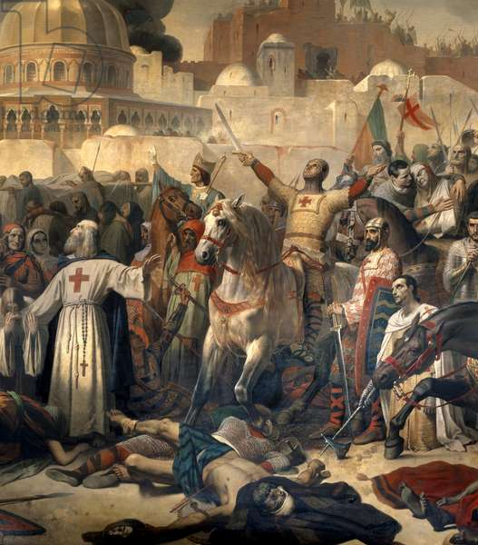 """Detail of: First Crusade: """""""" The capture of Jerusalem by the crossings on 15/07/1099"""""""" Godefroy de Bouillon giving grace to God in the presence of Peter the Hermit (or Hermit, 1053-1115) after the capture of the city. Painting by Emile Signol (1804-1892) 1847 Sun. 3,24 x 5,57 m. Versailles. Musee Du Chateau - First Crusade: Taking of Jerusalem by the Crusaders, 15 July 1099. Godfrey of Bouillon (or Godefroi - Godefroy de Bouillon) giving thanks to God in the presence of Peter the Hermit after the capture of the city. Painting by Emile Signol (1804-1892), 1847. 3.24 x 5.57 m. Castle Museum, Versailles, France"""