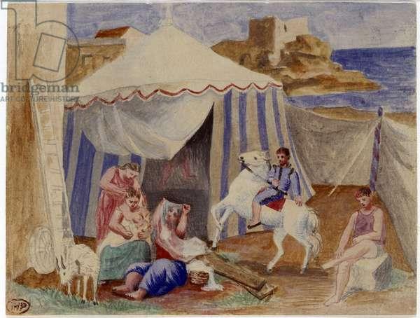 Circus fairground family near a tent. Painting a la gouache by Pablo Picasso (1881-1973) 1922 Sun. 0,14x0,11 m Paris, Musee Picasso