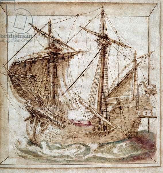 Caravelle. Portuguese manuscript, 16th century. Private collection.