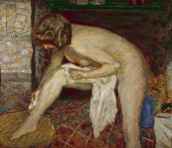 Naked has his toilet in front of the fireplace Painting by Pierre Bonnard (1867-1947) 1907 Private collection