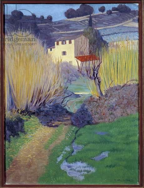 Landscape in Cagnes Painting by Felix Vallotton (1865-1925) 1921 Sun. 0,8x0,6 m Rouen, Musee des Beaux Arts