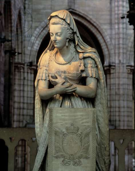 Lying by Marie Antoinette (Marie-Antoinette, 1755-1793) Queen of France. Sculpture of the 18th century. Basilica of Saint Denis