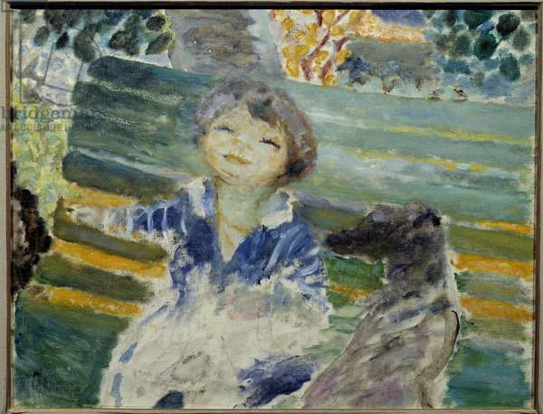 Little Girl with the Dog Painting by Pierre Bonnard (1867-1947) 1930 Private Collection