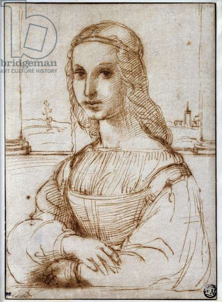 Portrait of Florentine Lady Drawing by Raffaello Sanzio dit Raphael (1483-1520) 1504 Paris, Musee du Louvre