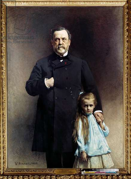 Portrait of the French doctor Louis Pasteur (1822-1895) with his little daughter Camille Vallery Radot Painting by Leon Joseph Bonnat (1833-1922) 1886 Paris, musee Pasteur - Portrait of the French doctor Louis Pasteur (1822-1895) with his grand-daughter, Camille Vallery Radot. Painting by Leon Joseph Bonnat (1833-1922) 1886. Pasteur Museum, Paris
