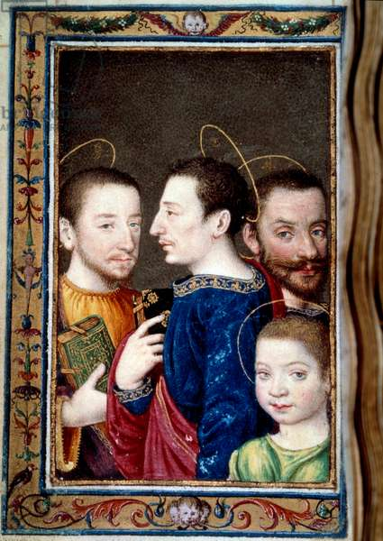 """The sons of Francois I (1494-1547): Francois (1518-1536) dolphin, Henry II (1519-1559) and Charles (1522-1545). Miniature in """""""" Book of hours by Catherine de Medicis"""""""" (Caterina de Medici), 16th century. Paris, B N"""