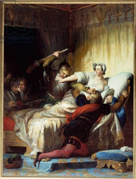 "War of Religions: """" scene of the massacre of Saint Barthelemy on 24/08/1572"""" Painting by Evariste Fragonard (1780-1850) 1836 Sun. 1,79x1,33 m"