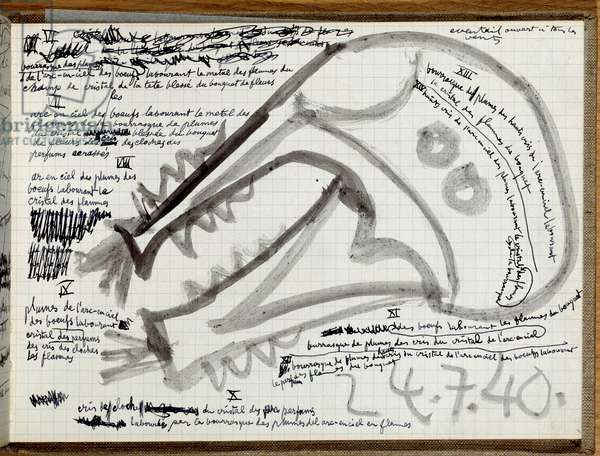Intimate notebook of drawings and notes by Pablo Picasso (1881-1973), page of 24/07/1940 Paris, Musee Picasso