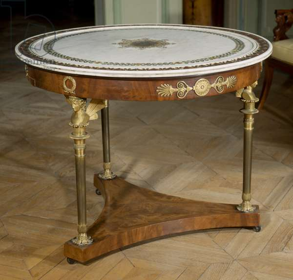 Art France Gueridon has marble top painted around 1800 - 1804