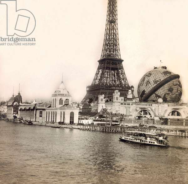 Universal Exposition of 1900 - Exposition Universelle de 1900 in Paris: The Celestial Globe and the Eiffel Tower - private collection
