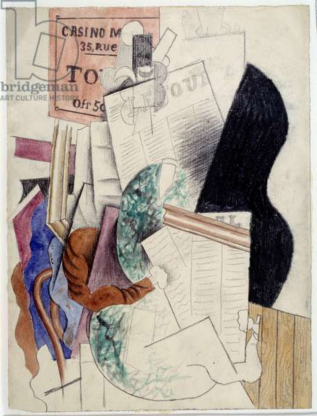 Man reading a newspaper. Drawing by Pablo Picasso (1881-1973), 1914. Watercolour and lead mine. Dim: 0,32 x 0,2m. Paris, Musee Picasso.