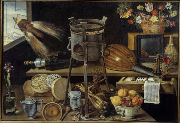 The five senses and the four elements some objects carry the weapons of the Richelieu family. Still life of wine, fruit, flowers, musical instruments. Painting by Jacques Linard (1600-1645) 1627 Sun. 1,05x1,53 m Paris, musee du Louvre