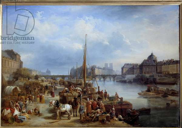 View of the port Saint Nicolas It was located near the Pont Neuf in Paris. Painting by Jean Auguste Garneray (1778-1845) 1834 Sun. 0,8x1,18 m Paris, Musee Carnavalet