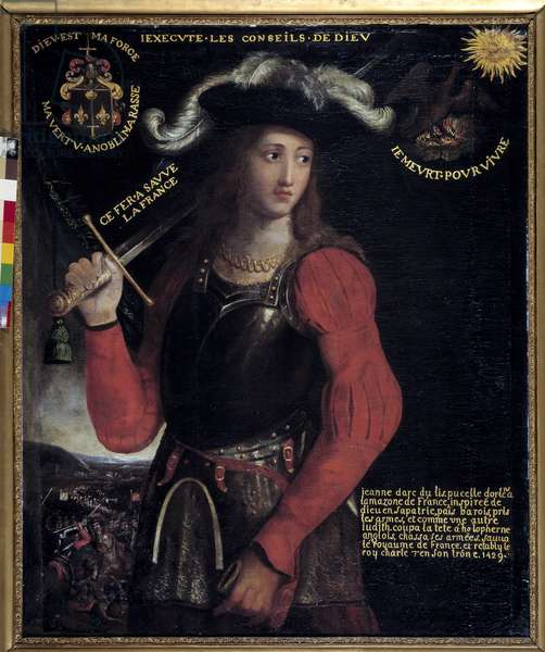 """Hundred Years' War: """""""" Portrait of Joan of Arc (1412-1431) in War Costume"""""""" Anonymous painting of the 17th century. Rouen, musee des Beaux Arts - Hundred Years War: Portrait of Joan of Arc (1412-1431) in war costume - Anonymous painting of the 17th century. Beaux-Arts Museum, Rouen, France"""