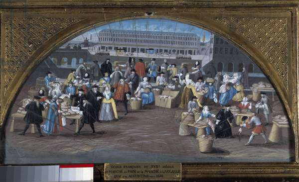 The bread march and the poultry march on the Quai des Augustins around 1670. Painting of the French School 17th century. Paris, Musee Carnavalet