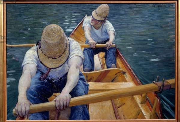 The canoeists rowing on the Yerres Painting by Gustave Caillebotte (1848-1894) 1877 Sun. 0,77x1,1 m Private collection - The Boatmen on the Yerres. Painting by Gustave Caillebotte (1848-1894), 1877. 0.77 x 1.1 m. Private collection