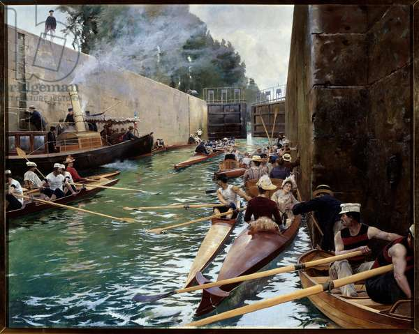 The lock. Painting by Ferdinand Joseph Gueldry (1858-1945). Oil on canvas. Mention must be made: Reims, Musee Des Beaux Arts