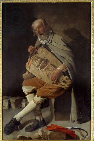 The old man also says the old man in the hat or the old man in the fly. Painting by Georges De La Tour (1593-1652), 1636. Oil on canvas. Dim: 1,62 x 1,05m. Nantes, Museum of Fine Arts