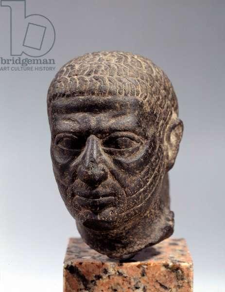 Egyptian antiquite: head of bearded man in basalt. Ptolemaic period. 1st century BC. Sun. 0.13 3. Paris, Louvre Museum