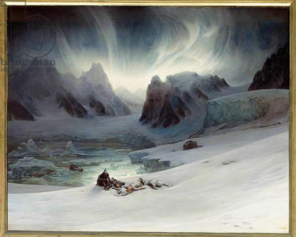 """Magdalena Bay viewed from Peninsula Tomb, North Spitsbergen. Aurora borealis effect. Oil on canvas, 1.30 x 1.63 m.  - """""""" Magdalena Bay, view taken from the peninsula of tombs north of Spitzberg, effect of aurora boreale"""""""" Painting by Francois Auguste Biard (1799-1882) 19th century Sun. 1,3x1,63 m"""