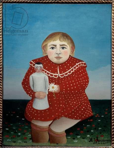 L'enfant a la poupee Painting by Henri Rousseau dit le Douanier (1844-1910) 1904 Sun. 0,67x0,52 m Paris, musee de l'Orangerie - Child with doll. Painting by Henri Rousseau called Le Douainier Rousseau (1844-1910), 1904. 0.67 x 0.52 m. Orangerie Museum, Paris