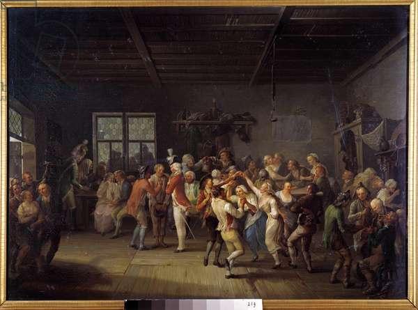 Recruitment in an 18th century Inn Officers coat dancers. Painting by Karl Pitz (1756-1795), 18th century Munich. Neue Pinakothek
