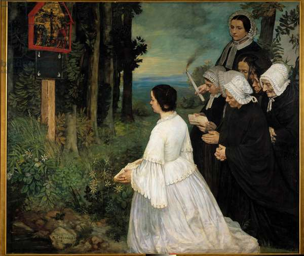 The ex-voto Women (in traditional costumes Bretons?) gathering in front of an ex voto. Painting by Alphonse Legros (1837-1911) 1860 Sun. 1,74x1,97 m Dijon, Museum of Fine Arts
