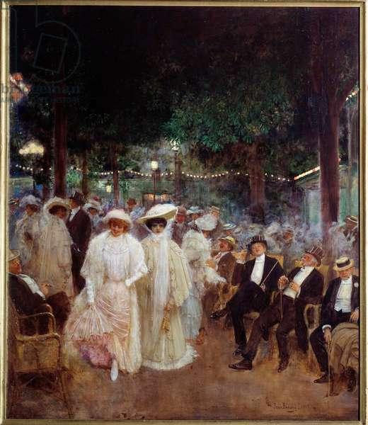 """Belle epoque: """""""" Les belles de nuit au Jardin de Paris en 1905"""""""" Painting by Jean Beraud (1849-1935) 1905 Sun. 1x0,85 m Paris, Musee Carnavalet."""