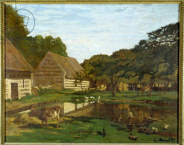 Farm yard in Normandy (in the Pays de Caux). Painting by Claude Monet (1840-1926), 1863 approx. Sun. 65x81 cm Paris, Musee d'Orsay - Farmyard in Normandy (Pays de Caux). Painting by Claude Monet (1840-1926), circa 1863. 65 x 81 cm. Orsay Museum, Paris