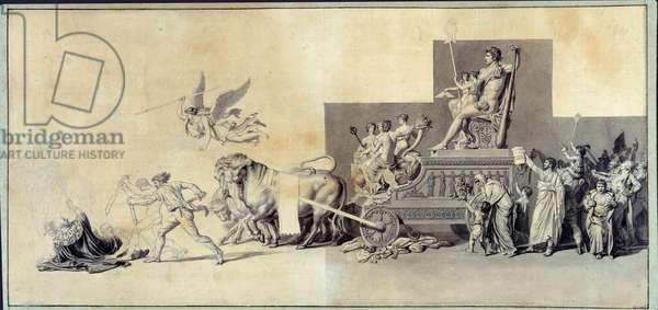 Le triumphe du peuple francais Drawing a la mine de lead by Jacques Louis David (1748-1825) 1793 Paris, Musee Carnavalet