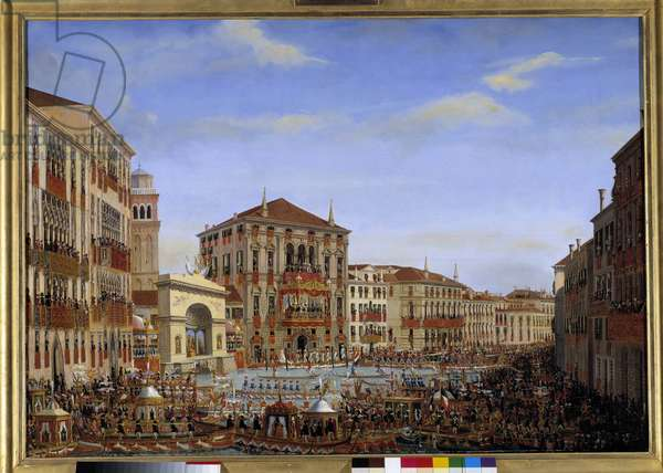 Visit of Napoleon I to Venice from 28 November to 8 December 1807: The Emperor presiding the regattas on the Grand Canal from the balcony of the Baldi Palace, arrives from the race, 2 December 1807 Painting by Giuseppe Borsato (1771-1849). 1807 Sun. 0,65 x 0,90 m  - Napoleon's visit to Venice from 28 November 8 December 1807: The Emperor presiding over a regatta on the Grand Canal from the Baldi palace's balcony. Arrival of the race, 2 December 1807. Painting by Giuseppe Borsato (1771-1849), 1807. 0.65 x 0.90 m.