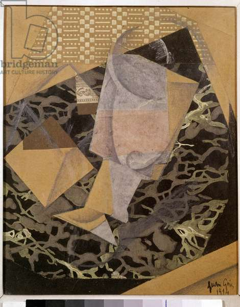 At the cafe. Spanish Cubist painting by Juan Gris (1887 - 1927), 1914. Private collection.