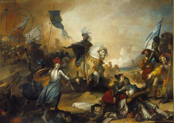 """Italian Wars: """""""" Battle of Marignan, September 14, 1515, King Francois I (1494-1547) orders his troops to cease pursuing the Swiss"""""""""""" Painting by Alexander Evariste Fragonard (1780-1850) 19th century Sun. 4,6x5,4 m"""