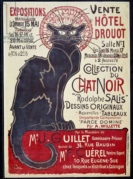 """Advertising poster announcing the sale at Hotel Drouot in 1898 of the Cat Noir collection and works by Rodolphe Salis, Illustration by Theophile Alexandre Steinlen (1859-1923), 1898 - Poster advertising the sale of the """"Chat Noir (Black Cat)"""" collection and works of Robert Salis at the Hotel Drouot. Illustration by Theophile Steilein (1859-1923), 1898"""