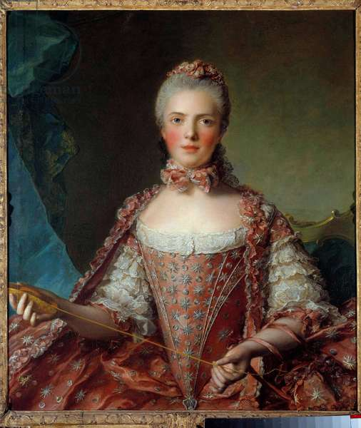 Portrait of Madame Adelaide of France (1732-1800) making knots Painting by Jean-Marc (Jean Marc) Nattier (1685-1766) 1756 Sun 1,26x0,96 m  - Portrait of Madame Adelaide de France (1732-1800) tying knots. Painting by Jean-Marc (Jean Marc) Nattier (1685-1766), 1756. 1.26 x 0.96 m.