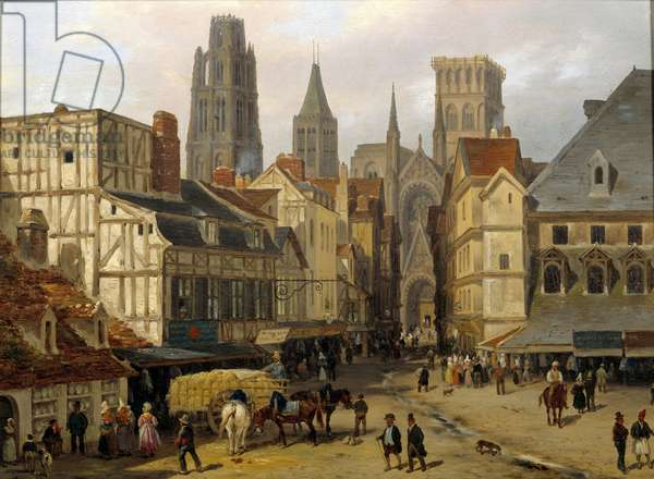 Place Haute old tower in Rouen. Painting by Giuseppe Canella (1788-1847), 1824. Sun 0,25x0,33m Rouen, musee des beaux Arts - Place de la Haute-Vieille-Tour, Rouen. Painting by Giuseppe Canella (1788-1847) 1824. 0.25 x 0.33m. Beaux-Arts Museum, Rouen, France