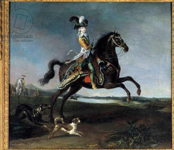 Equestrian portrait of Marie Antoinette by Lorraine Habsburg, Queen of France (1755-1793) Painting by Louis Auguste Brun (1758-1815), 1783. Dim. 0,60 x 0,66 m. Versailles, Chateau Museum