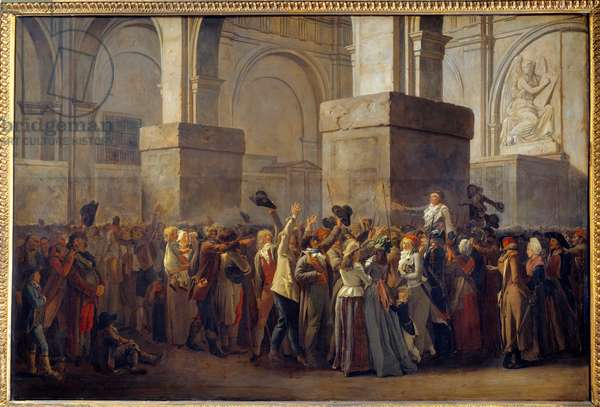 """French Revolution; """""""" Triumph of Marat"""""""" The depute Jean Paul Marat (1743-1793) was triumphed by the people after his acquittal by the Revolutionary Tribunal in 1793. Painting on maroufle paper by Louis Leopold Boilly (1761-1845) 18th century Sun. 0,8x1,2 m Lille, Musee des Beaux Arts"""