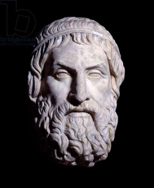Greek art: bust of Sophocles (around 496-406 BC), Greek tragic poet. London, British museum